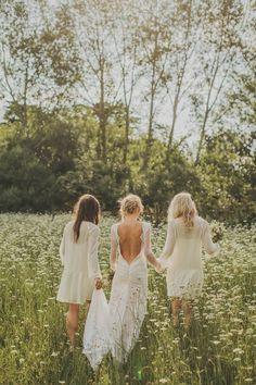 Wedding Inspiration | Summer Bride | Boho | Bridesmaids | Wildflowers http://www.foreverbride.com