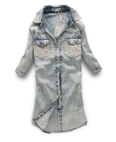 Short Sleeves Snow Washed Denim Blouse with Crochet Lace Insert