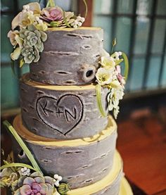 "I have to admit i like this idea. It helps incorporate both the bride and the groom into the cake, whereas usually it is mostly about the bride. I don't like the flowers or succulents hanging from it but maybe if the baker could make frosting moss or vines?? Also I would have the yellow part be more brown and have the tree""rings"" showing as a cool effect."