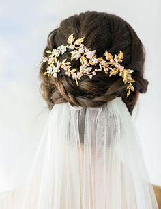 Gold beaded bridal headpiece // 7th Heaven: Bridal Veil Trends and Inspiration for 2016 - 2017