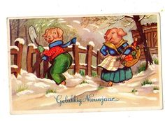 Vintage Pig Postcard - Couple New Year in Dutch gelukkig nieuwjaar