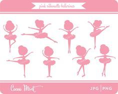 Pink Silhouette Ballerina Clip Art by cocoamint on Etsy