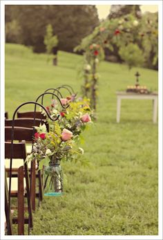 Hanging flowers for ceremony