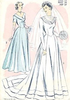 1940s Beautiful  Wedding Gown Bridal Dress Pattern Advance 5341 Regular or With Train 2 Neckline Styles Figure Flattering Late Forties Bust ...