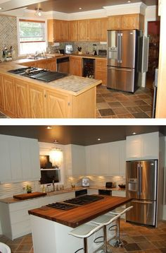 kitchen renovation Before and after Kitchen On A Budget, Kitchen Redo, Kitchen Design, Kitchen Soffit, Kitchen Flooring, Kitchen Renovation Inspiration, Home Renovation, Small American Kitchens, Kitchen Models