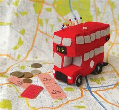 DIY sewing kits for kids: London Bus pincushion kit. Neat!
