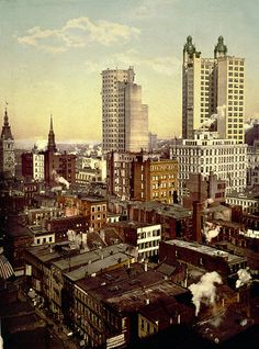 Downtown New York, circa 1901, showing the backs of two early high-rises, the St. Paul Building, left, and the Park Row Building.