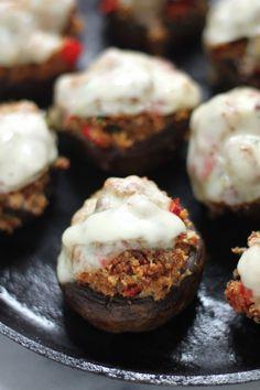 Italian Sausage & Peppers Stuffed Mushrooms - These cheesy little mushrooms never last long!