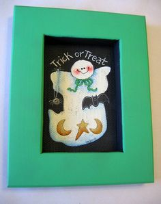 Trick or Treat Ghost Tole Painted and Framed by barbsheartstrokes, $18.00