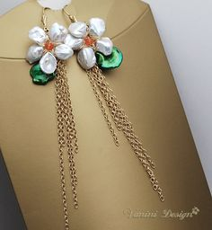 Marguerite-14k gold fill,Keishi Pearls,carnelian earrings | Flickr - Photo Sharing!