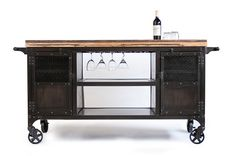 Love this rolling bar from Real Industrial Edge Furniture Modern Industrial Furniture, Industrial Interior Design, Industrial House, Funky Furniture, Classic Furniture, Kitchen Furniture, Rustic Furniture, Furniture Making, Furniture Ideas