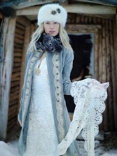 I would do a plain white wedding dress underneath that velvet coat. Rock the coat for winter wedding instead of the dress.