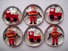 Hand painted large glass gems party favors firemen fireman fire trucks. $5.00, via Etsy.