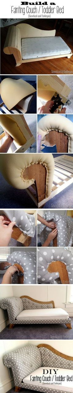 Build and Upholster your own Toddler Bed / Fainting Couch Diy Furniture Plans, Furniture Making, Home Furniture, Furniture Projects, Toddler Furniture, Building Furniture, Fainting Couch, Bed Parts, Bedding Inspiration