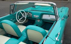 1959 Ford Thunderbird convertible with top down - turquoise - interior | Flickr - Photo Sharing!