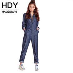 5288cdaf779d Fashion Winter Autumn Jumpsuits Women Long Sleeve Female Shirt Denim  Jumpsuits Loose Blue Ladies Jumpsuits Jeans