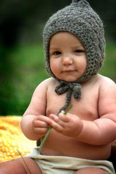 Organic Baby Wool Pixie Bonnet  Hand Knit Eco Friendly by joretta, $34.00