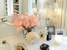 Elegant Makeup Room Checklist & Idea Guide for the best ideas in Beauty Room decor for your makeup vanity and makeup collection. Home Interior, Luxury Interior, Interior Decorating, Interior Design, Decorating Ideas, Closet Vanity, Feminine Bedroom, Decoration Inspiration, Design Inspiration