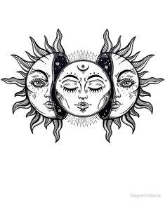 """""""Vintage Solar Eclipse Sun and Moon"""" Poster by MagneticMama, # . - """"Vintage Solar Eclipse Sun and Moon"""" poster by MagneticMama, rate - Vintage Tattoo Design, Vintage Tattoos, Kunst Tattoos, Body Art Tattoos, Hot Tattoos, Dream Tattoos, Tatoos, Calf Tattoos, Dark Art Tattoo"""