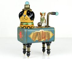 Tin Can Animals, Robot Animal, Found Art, Cat Doll, Glass Marbles, Assemblage Art, Medium Dogs, Vintage Metal, Teal Blue