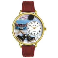 Whimsical Unisex Hockey Mom Burgundy Leather Watch