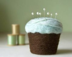 Pincushion - Felted Cupcake in Ice Blue and Chocolate Brown