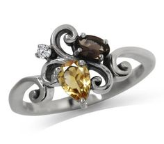 Natural Citrine, Smoky Quartz, and White Topaz in Charming Victorian Style Sterling Silver Ring.