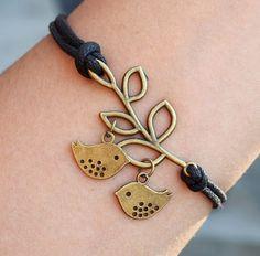 Branch with two love birds Bracelet Bronze--Quality Black Wax cord Leather Bracelet for men Women Friendship Personalized Jewelry Gift