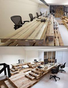 werkplek van pallets | glazen plaat | Creative Office Furniture