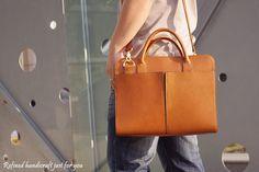 Handmade Tan Brown Leather Briefcase, Laptop Bag, Messenger Shoulder Bag Men's Handbag D018