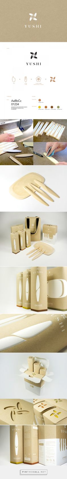 Packaging and branding for YUSHI on Behance by Ning Li New York, NY curated by Packaging Diva PD. Single-use, biodegradable tableware made from tree-free renewable and fully biodegradable materials.