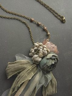 petite bouquet necklace  ash rose  hand dyed by kikosattic on Etsy, $44.00