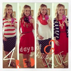 Red white and blue. I love all of these fourth of July outfits but i absolutely love the first and last ones! Big Girl Fashion, Fashion 101, Diva Fashion, Modest Fashion, Apostolic Fashion, Fashion Outfits, Modest Outfits, Classy Outfits, Beautiful Outfits