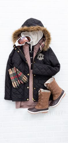 Time to hit the slopes with this comfortable and functional ski outfit from Marleylilly.  Pair it with a quilted hoodie and some winter duck boots for a slope style look.