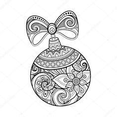 Monochrome Ornate Christmas Decoration, Happy New Year. Ball with Bow, Floral Ornament. Holiday Objects in Doodle Line Style for Greeting Card. Coloring Book Page. Diy Christmas Ornaments, Christmas Colors, Christmas Decorations, Christmas Ideas, Christmas Coloring Pages, Coloring Book Pages, Parchment Craft, Drawing Projects, Stencil Patterns