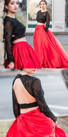 two piece prom dress, 2017 prom dress, long sleeves prom dress, red prom dress, black lace prom dress
