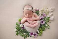 Beautiful floral inspired baby girl newborn session with real flowers, purple, pink, green and white -Bonney Lake Tacoma Newborn Pictures Charlie by Butterfly Kiss Photography Earthy Organic Natural