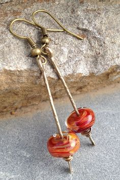 Hammered Brass and Lampwork Glass Bead Earrings by PaulaJoyDesigns, $16.00