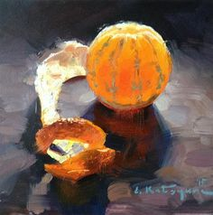 "Daily Paintworks - ""Monday Mandarin"" - Original Fine Art for Sale - © Elena Katsyura"