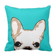 French Bulldog Turquoise Pop Art Pillow