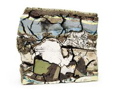 "Jonathan Mess Landfill No.16: Northern Cross Section, 2012  Various clays, glazes, and stains; 12"" x 13"" x 3"""
