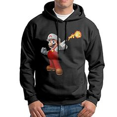 Bekey Mens Super Mario Fire Pullover Hoodie Sweatshirt S Black >>> Check out this great product.