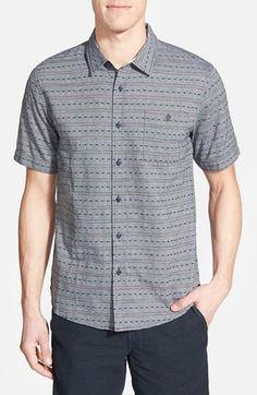 Ezekiel 'Maker' Trim Fit Short Sleeve Dobby Stripe Woven Shirt available at #Nordstrom