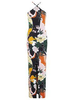 Robe longue à imprimé fleuri oriental