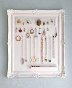 Jewellery Storage Board. Transform an old frame from the opshop into a funky piece of art work and storage in one!