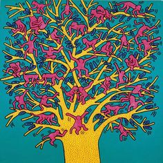 "Painting by Keith Haring,1984, ""The Tree of Monkeys"", acrylic on canvas."