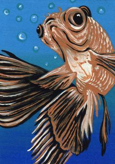 ACEO ATC Orange Fantail Goldfish Pet Art Original Painting-C. Smale #Realism