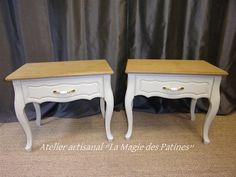 Mobilier relooké a vendre. Shabby, Artisanal, Vanity Bench, Decoration, Nightstand, Furniture, Home Decor, Atelier, Decor