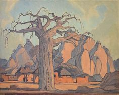 Pierneef Landscape Art, Landscape Paintings, South Africa Art, Baobab Tree, African Paintings, South African Artists, Painting Leather, Art File, Naive Art