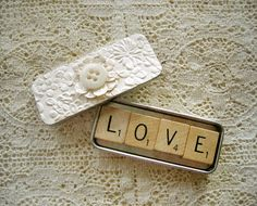 Wedding Favor Scrabble Magnets in Shabby Cream by RememberMeEmily